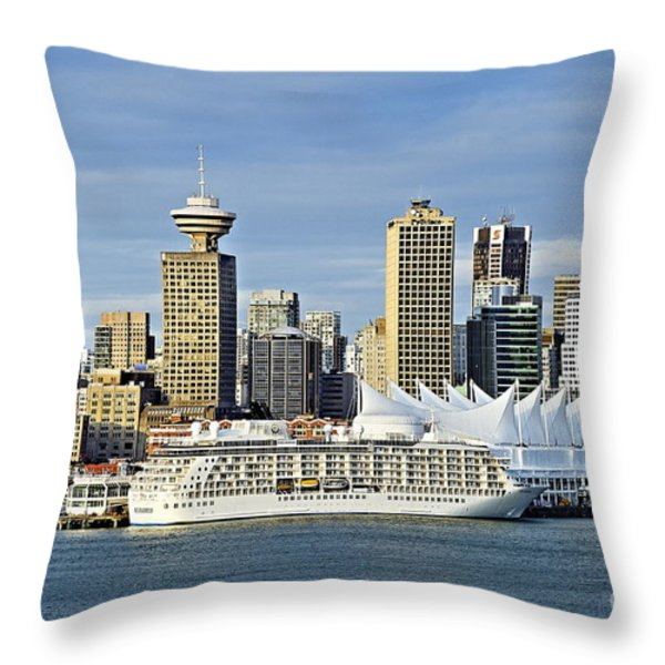 Vancouver Skyline Throw Pillow by John Greim