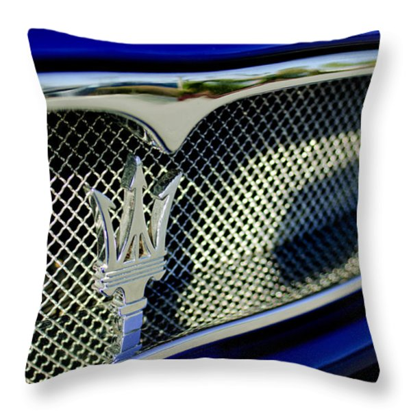 2002 Maserati Hood Ornament Throw Pillow by Jill Reger