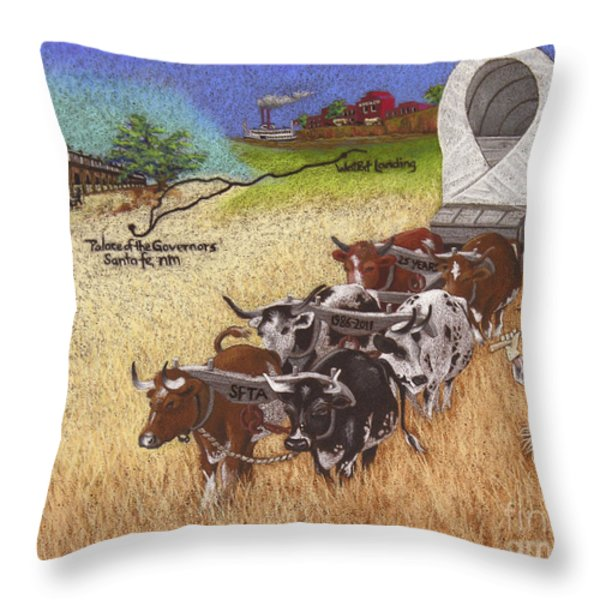 25th Anniversary Santa Fe Trail Association Throw Pillow by Tracy L Teeter