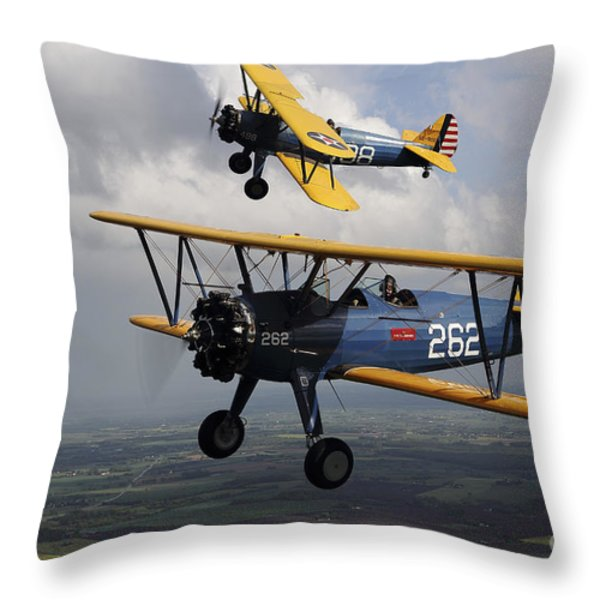 Boeing Stearman Model 75 Kaydet In U.s Throw Pillow by Daniel Karlsson