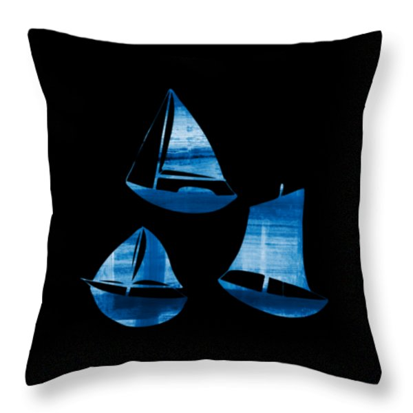 Throw Pillow featuring the painting 3 Little Blue Sailing Boats by Frank Tschakert