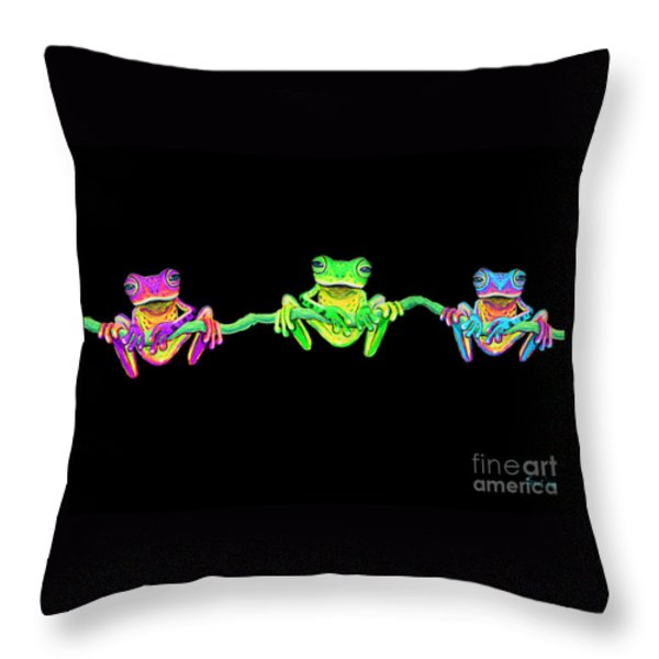 3 Little Frogs Throw Pillow by Nick Gustafson