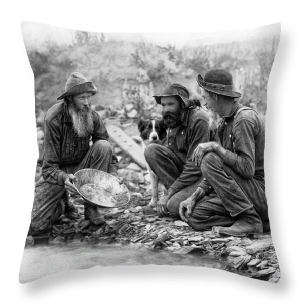 3 Men And A Dog Panning For Gold C. 1889 Throw Pillow by Daniel Hagerman