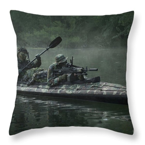 Navy Seals Navigate The Waters Throw Pillow by Tom Weber
