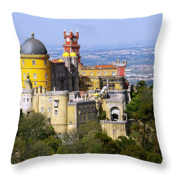 Pena Palace Throw Pillow by Carlos Caetano