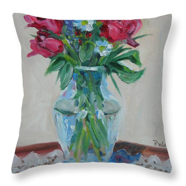 3 Roses Throw Pillow by Paul Walsh