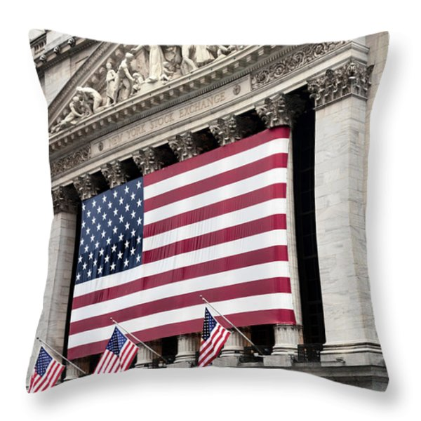 The Facade Of The New York Stock Throw Pillow by Justin Guariglia