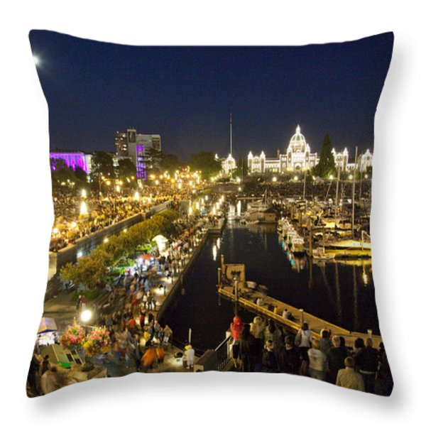 The Inner Harbor On A Busy Summer Throw Pillow by Taylor S. Kennedy