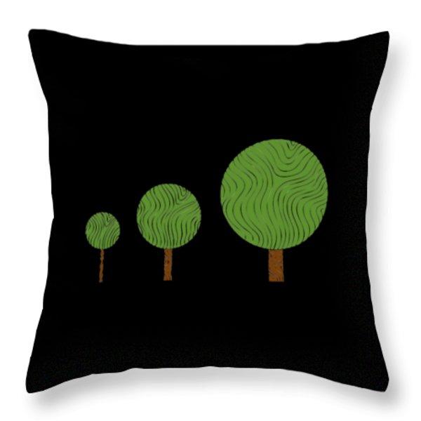 3 Trees Throw Pillow by Frank Tschakert