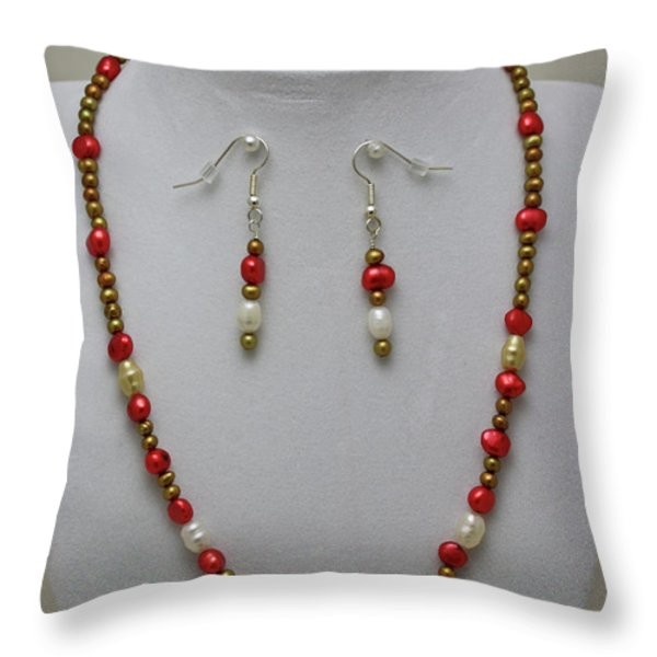 3539 Pearl Necklace And Earring Set Throw Pillow by Teresa Mucha