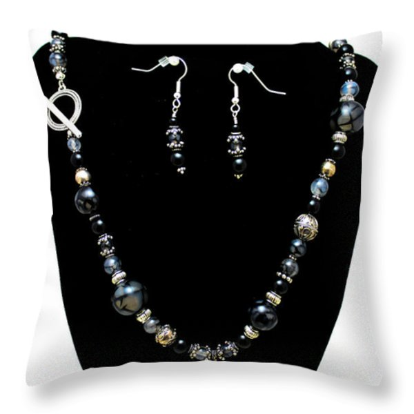 3545 Black Cracked Agate Necklace And Earring Set Throw Pillow by Teresa Mucha