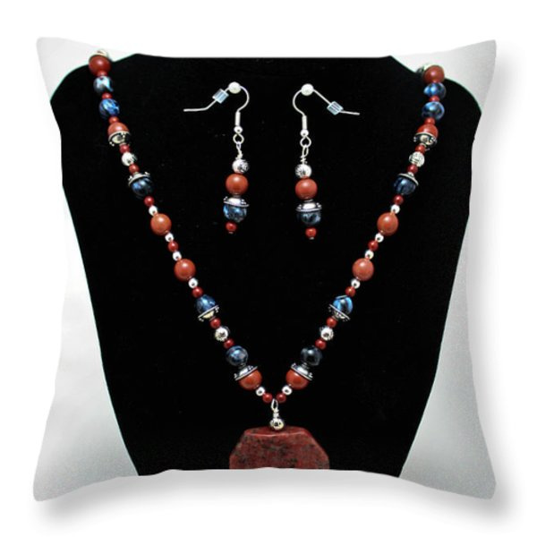 3578 Jasper And Agate Long Necklace And Earrings Set Throw Pillow by Teresa Mucha