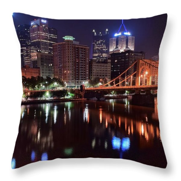 A Pittsburgh Night Throw Pillow by Frozen in Time Fine Art Photography