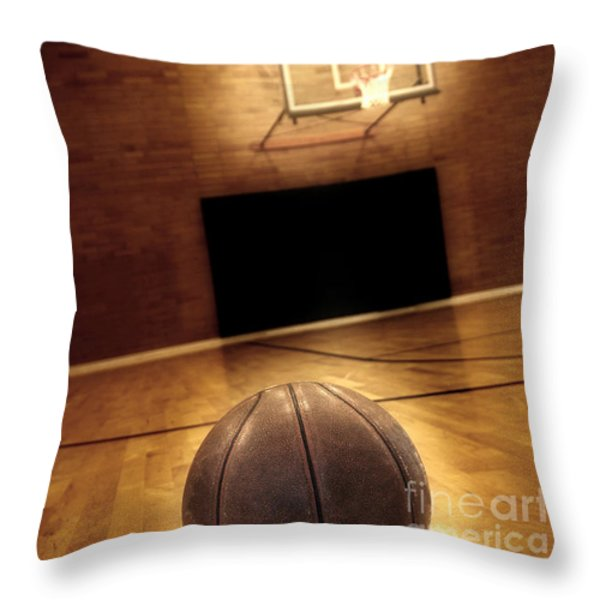 Basketball and Basketball Court Throw Pillow by Lane Erickson