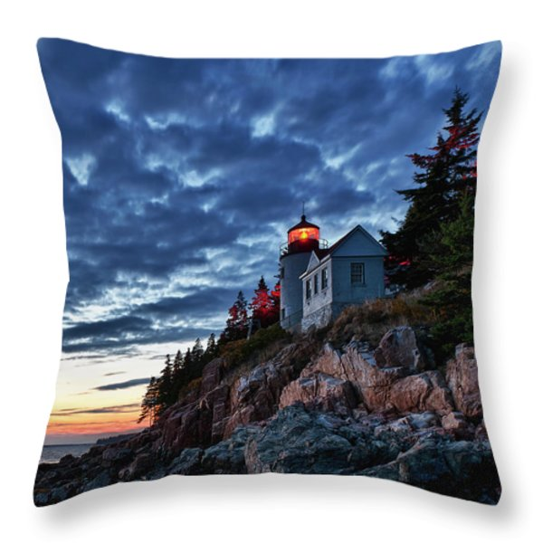 Bass Harbor Lighthouse Throw Pillow by John Greim