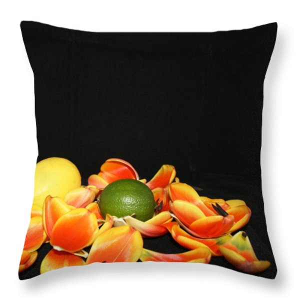 Falling Tulip Petals Throw Pillow by Victoria  Johns