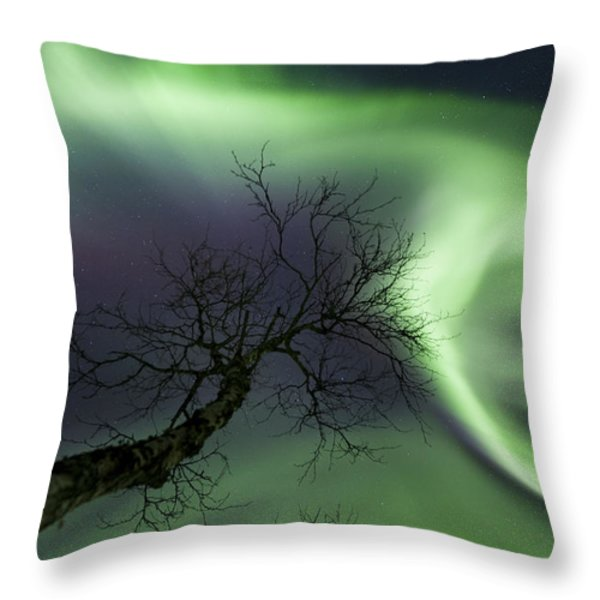 Northern Lights In The Arctic Throw Pillow by Arild Heitmann
