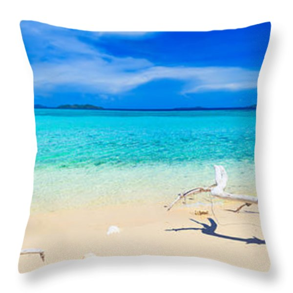 Tropical beach Malcapuya Throw Pillow by MotHaiBaPhoto Prints