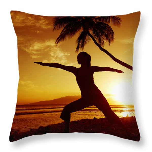 Yoga At Sunset Throw Pillow by Ron Dahlquist - Printscapes