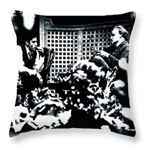 The Godfather Throw Pillow by Luis Ludzska