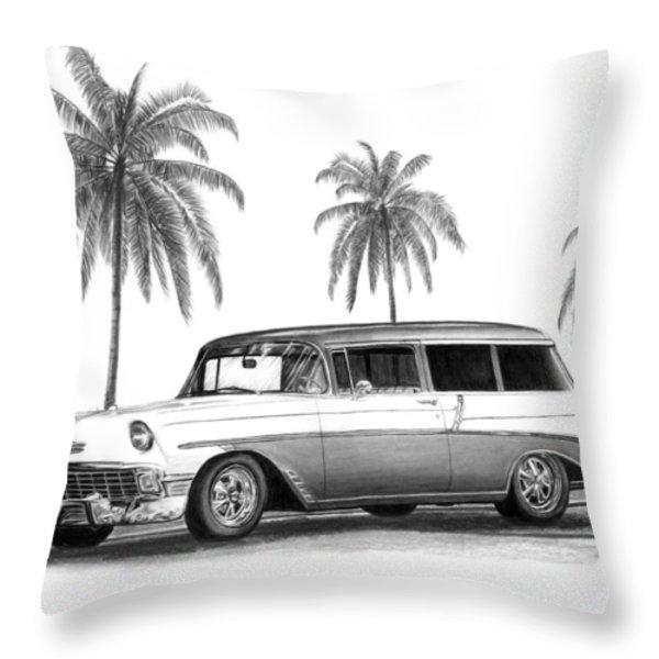56 Chevy Wagon Throw Pillow by Peter Piatt
