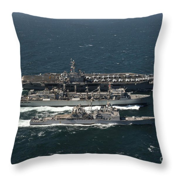 Underway Replenishment At Sea With U.s Throw Pillow by Stocktrek Images