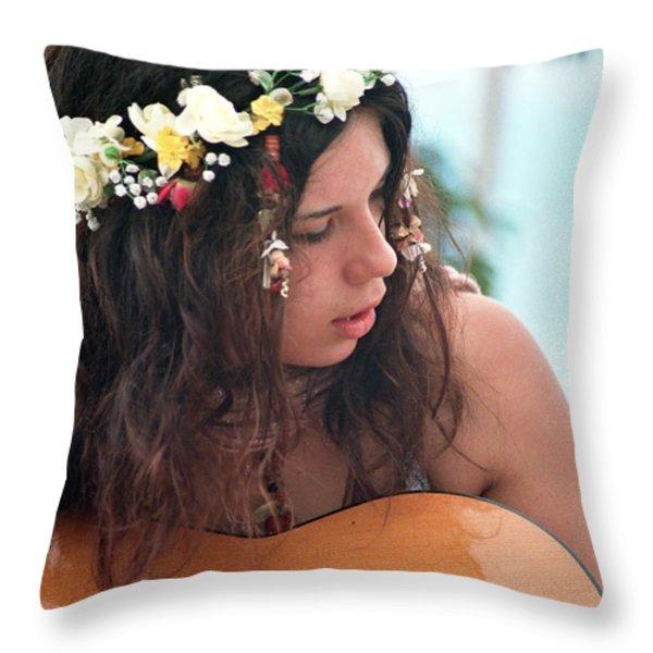 60's Flower Girl Throw Pillow by Ilan Rosen