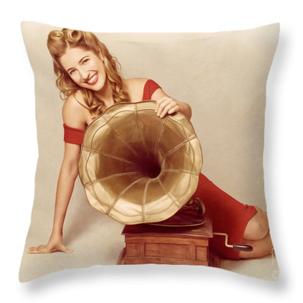 60s Pin Up Girl With Vintage Record Phonograph Throw Pillow by Ryan Jorgensen