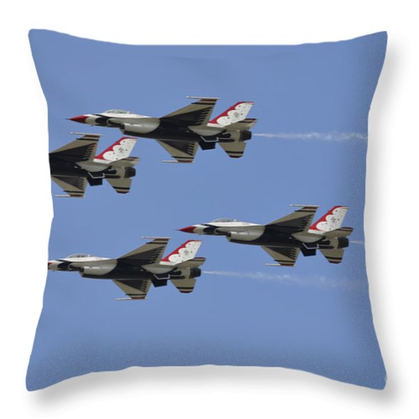 The U.s. Air Force Thunderbirds Fly Throw Pillow by Stocktrek Images