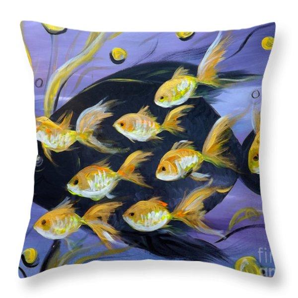 Throw Pillows - 8 Gold Fish Throw Pillow by Gina De Gorna