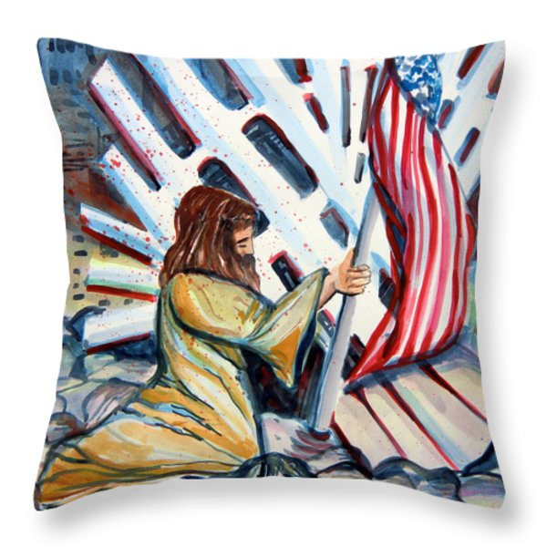 911 Cries for Jesus Throw Pillow by Mindy Newman