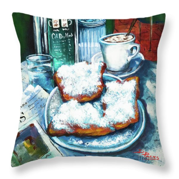 A Beignet Morning Throw Pillow by Dianne Parks