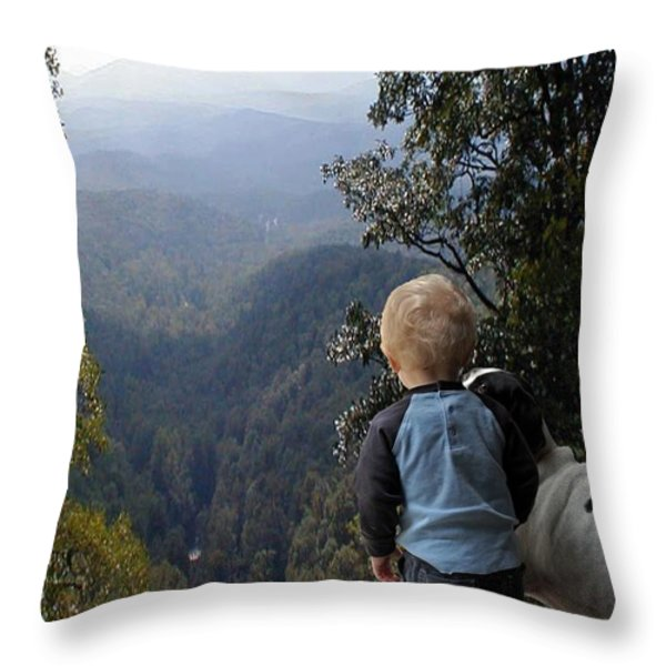 A Boy and His Dog Throw Pillow by Robert Meanor