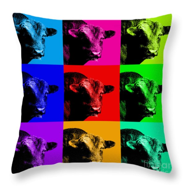 A Bunch of Bull Throw Pillow by Wingsdomain Art and Photography