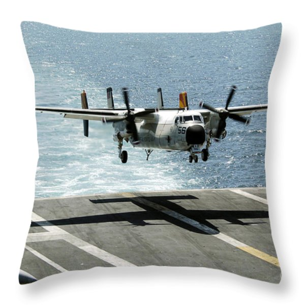 A C-2a Greyhound Prepares To Land Throw Pillow by Stocktrek Images