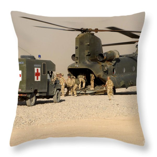 A Ch-47 Chinook Helicopter Drops Throw Pillow by Andrew Chittock