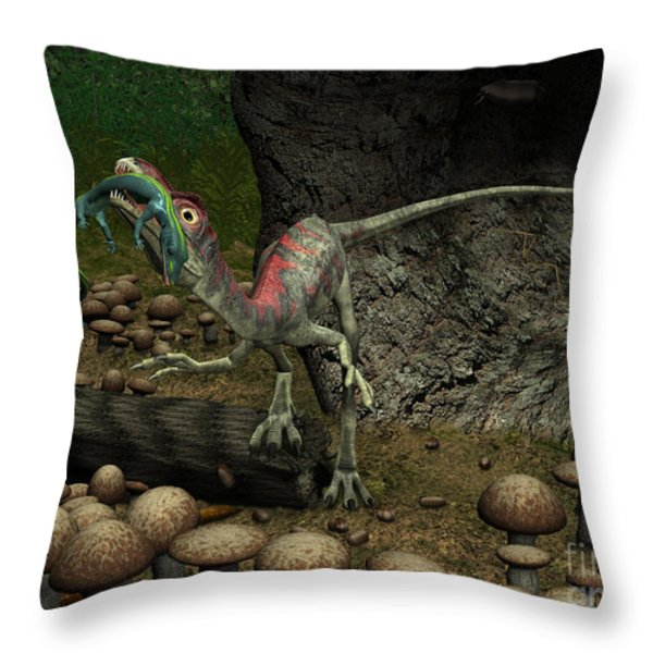 A Compsognathus Prepares To Swallow Throw Pillow by Walter Myers