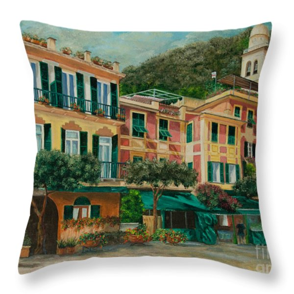 A Day in Portofino Throw Pillow by Charlotte Blanchard