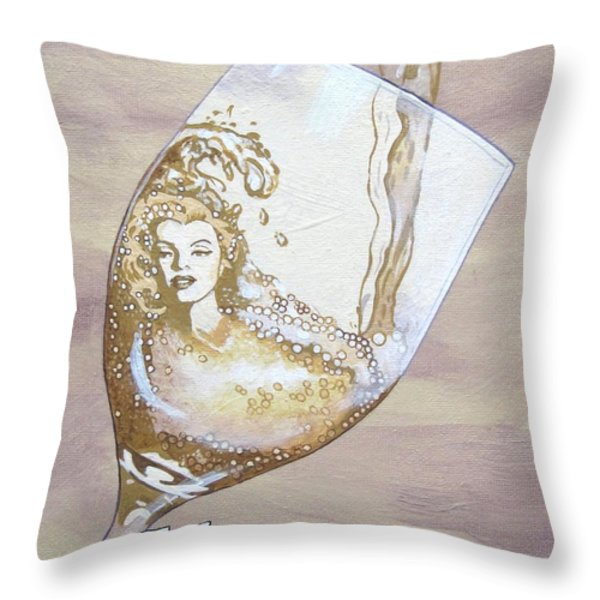 A Day Without Wine - Moscato Throw Pillow by Jennifer  Donald