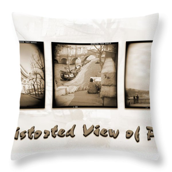 A DISTORTED VIEW OF PARIS Throw Pillow by Mike McGlothlen