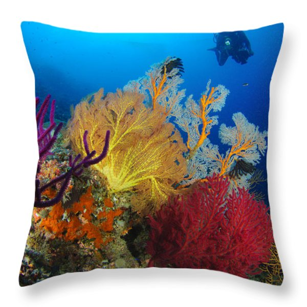 A Diver Looks On At A Colorful Reef Throw Pillow by Steve Jones