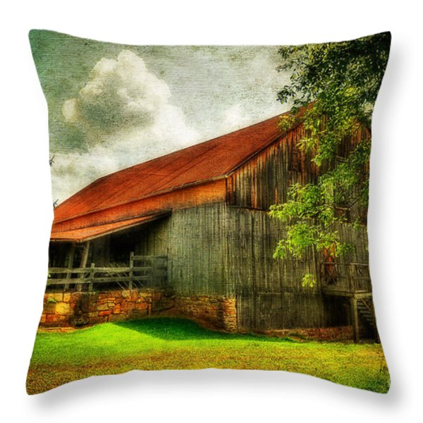 A Farm-picture Throw Pillow by Lois Bryan