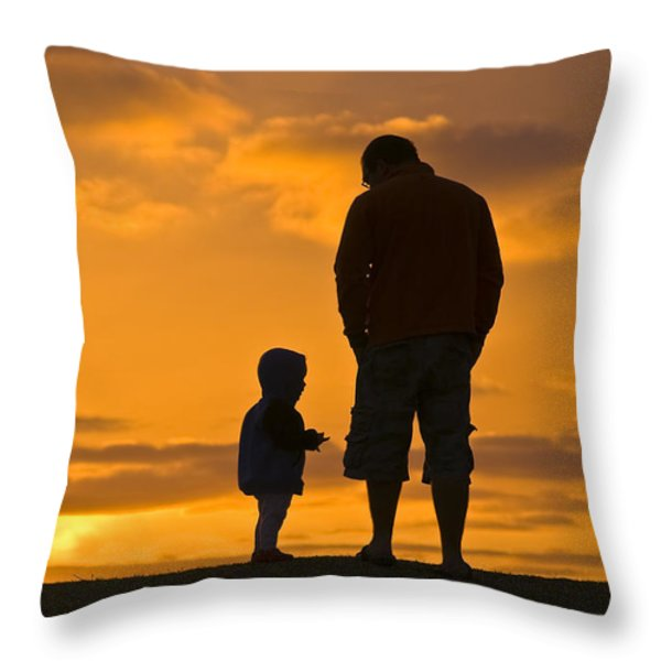A Father And His Baby Son Watch Throw Pillow by Jason Edwards