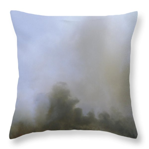 A Fire Burns In The Marsh On Ocracoke Throw Pillow by Stephen Alvarez