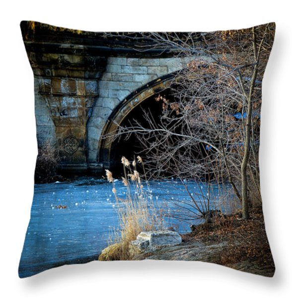 A Frozen Corner in Central Park Throw Pillow by Chris Lord