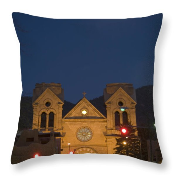 A Full Moon Rises Over  Cathedral Throw Pillow by Stephen St. John