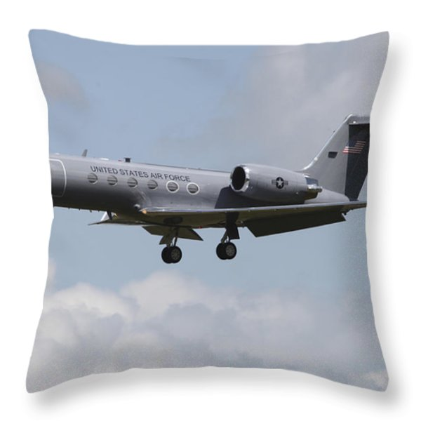A Gulfstream C-20h Executive Transport Throw Pillow by Timm Ziegenthaler