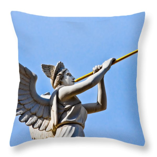 A Herald Sounds Off Throw Pillow by Christopher Holmes
