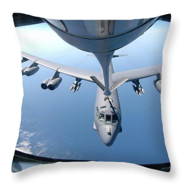 A Kc-135 Stratotanker Refuels A B-52 Throw Pillow by Stocktrek Images