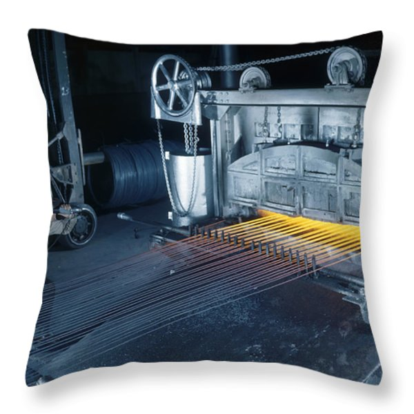 A Man Checks Temperatures Of Steel Rods Throw Pillow by Willard R. Culver